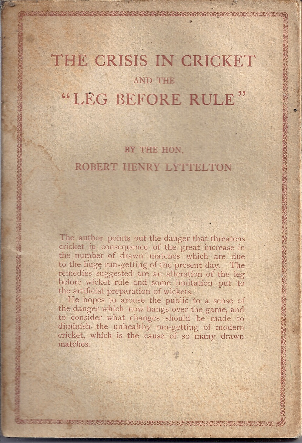 "Image for The Crisis in Cricket and the ""Leg Before Rule"""