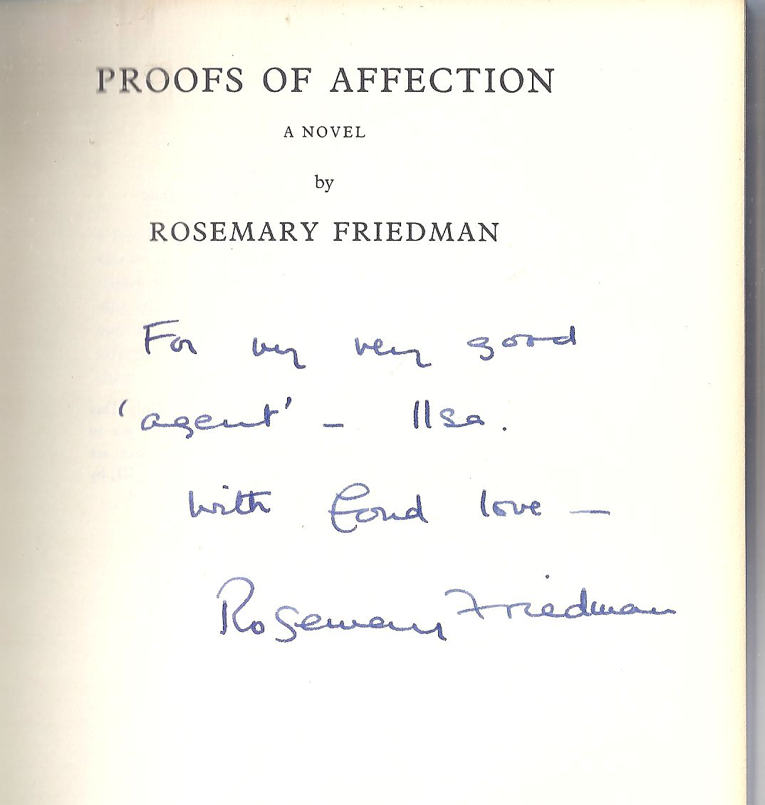 Image for Proofs of Affection [signed copy]