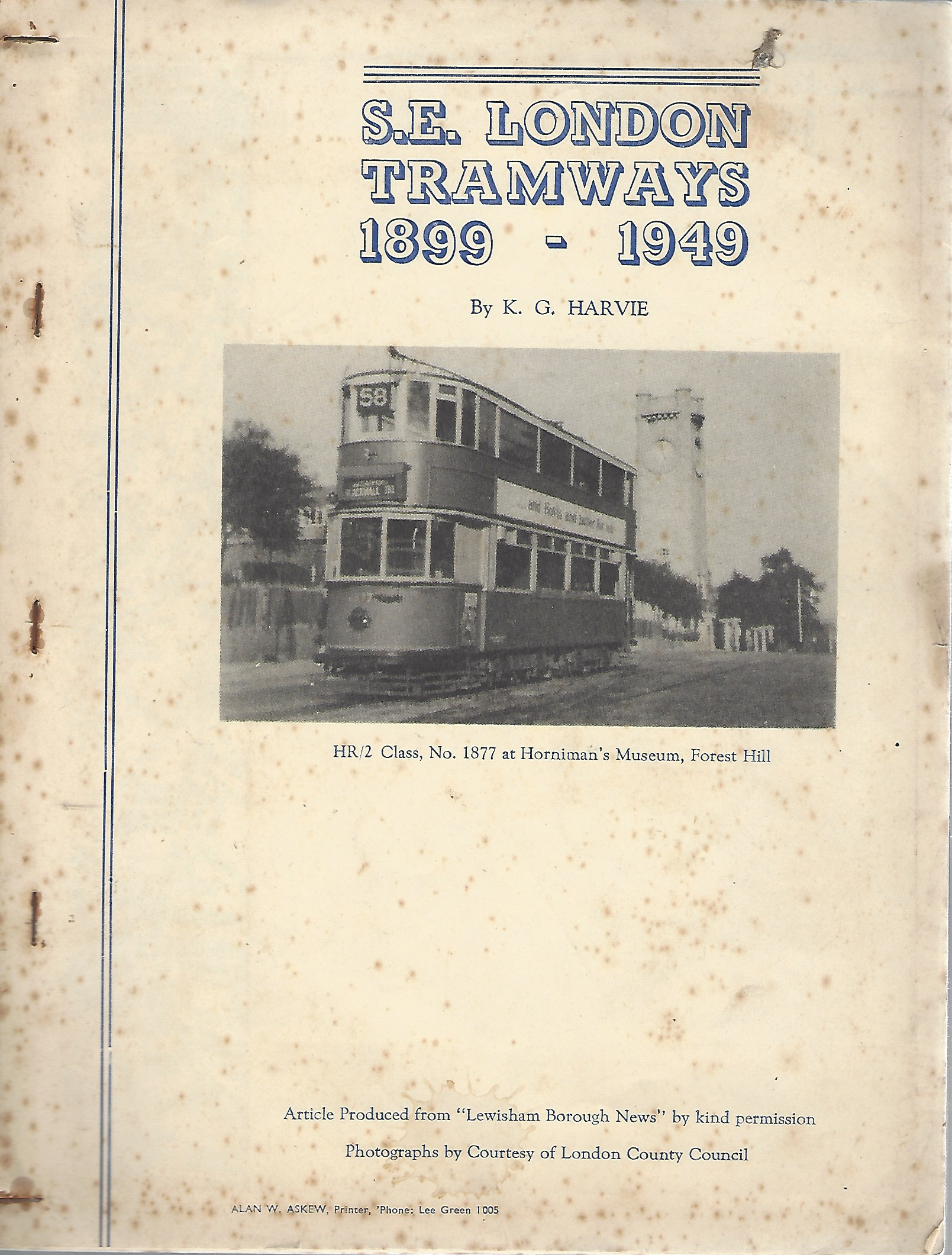 Image for S. E . London Tramways 1899-1949 [signed copy]