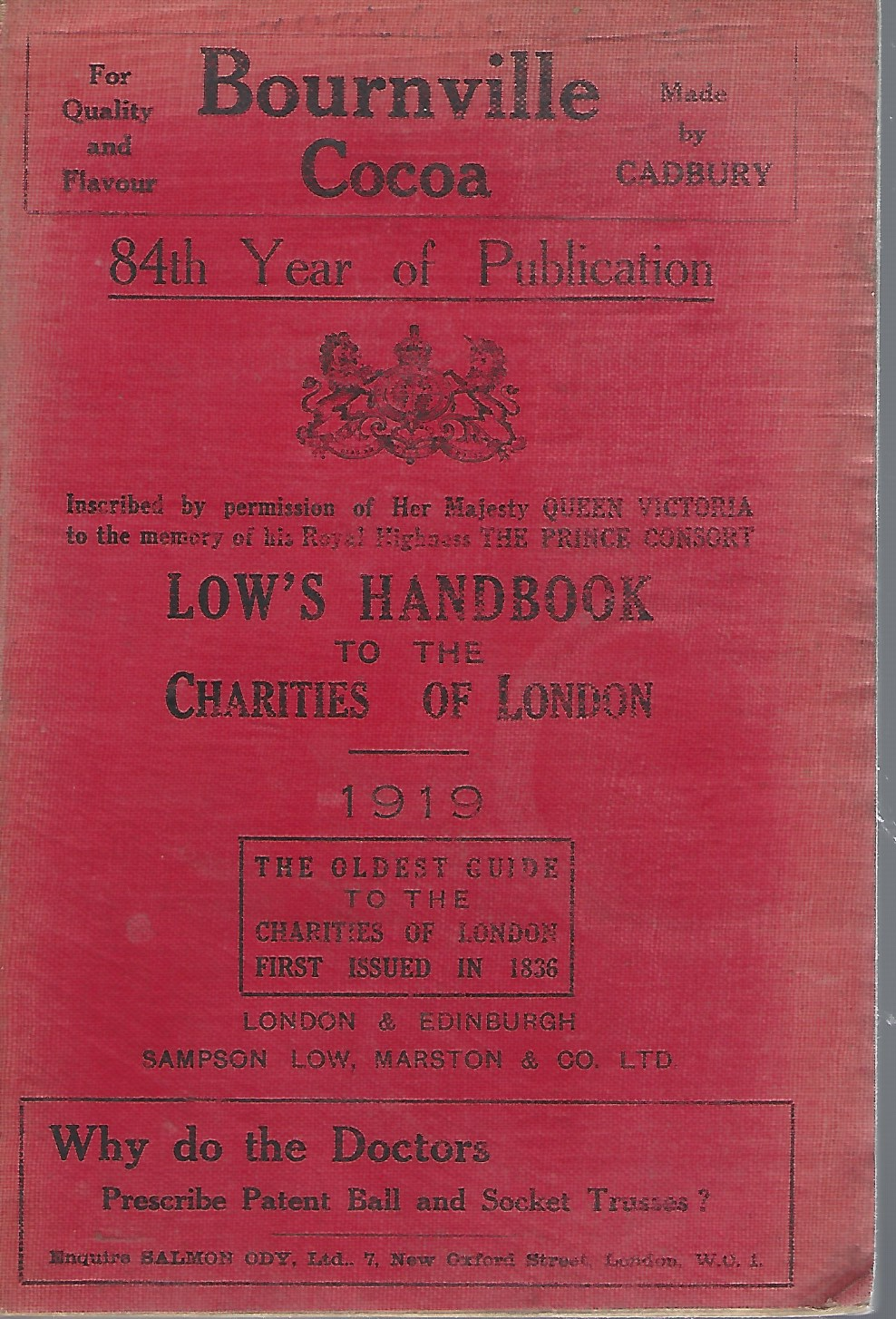 Image for Low's Handbook to the Charities of London, Giving the Object and Office of over 1200 Charitable Institutions
