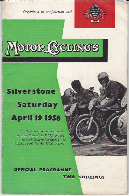 Image for MotorCycling's Silverstone, Saturday April 19 1958, Official Programme