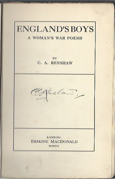 Image for England's Boys, A Woman's War Poems [signed copy]