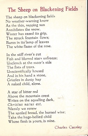 Image for The Sheep on Blackening Fields. Single poem issued as Christmas card, 1965
