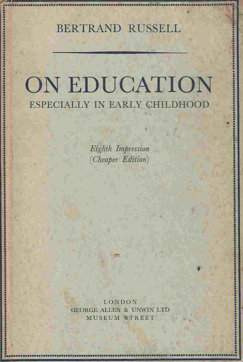 Image for On education  Especialy in early childhood