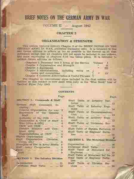Brief Notes on the German Army in War : Volume II - August 1942
