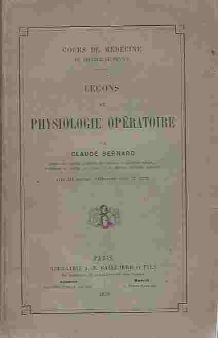 Image for Lecons de Physiologie Operatoire. Cours de Medecine du College de France
