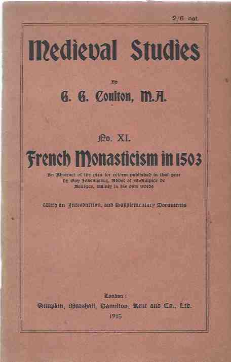 Image for Medieval Studies, No. XI: French Monasticism in 1503