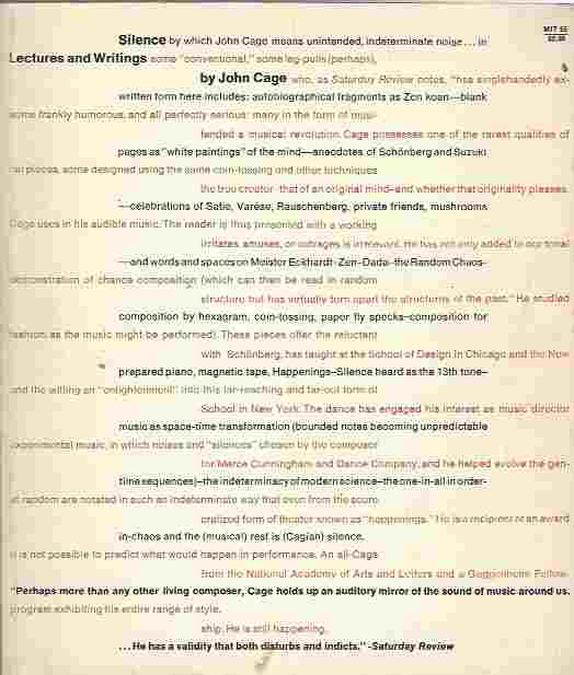 Image for Silence. Lectures and Writings by John Cage.