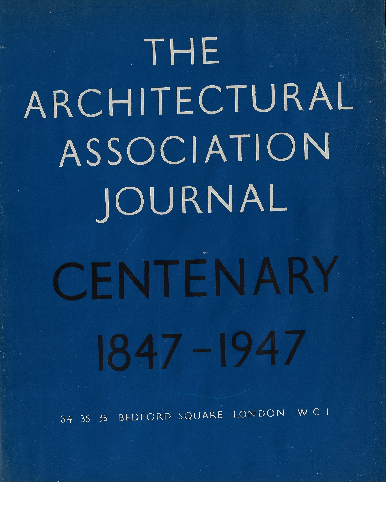 Image for The Architectural Association Journal Centary Issue  LXIII no. 718