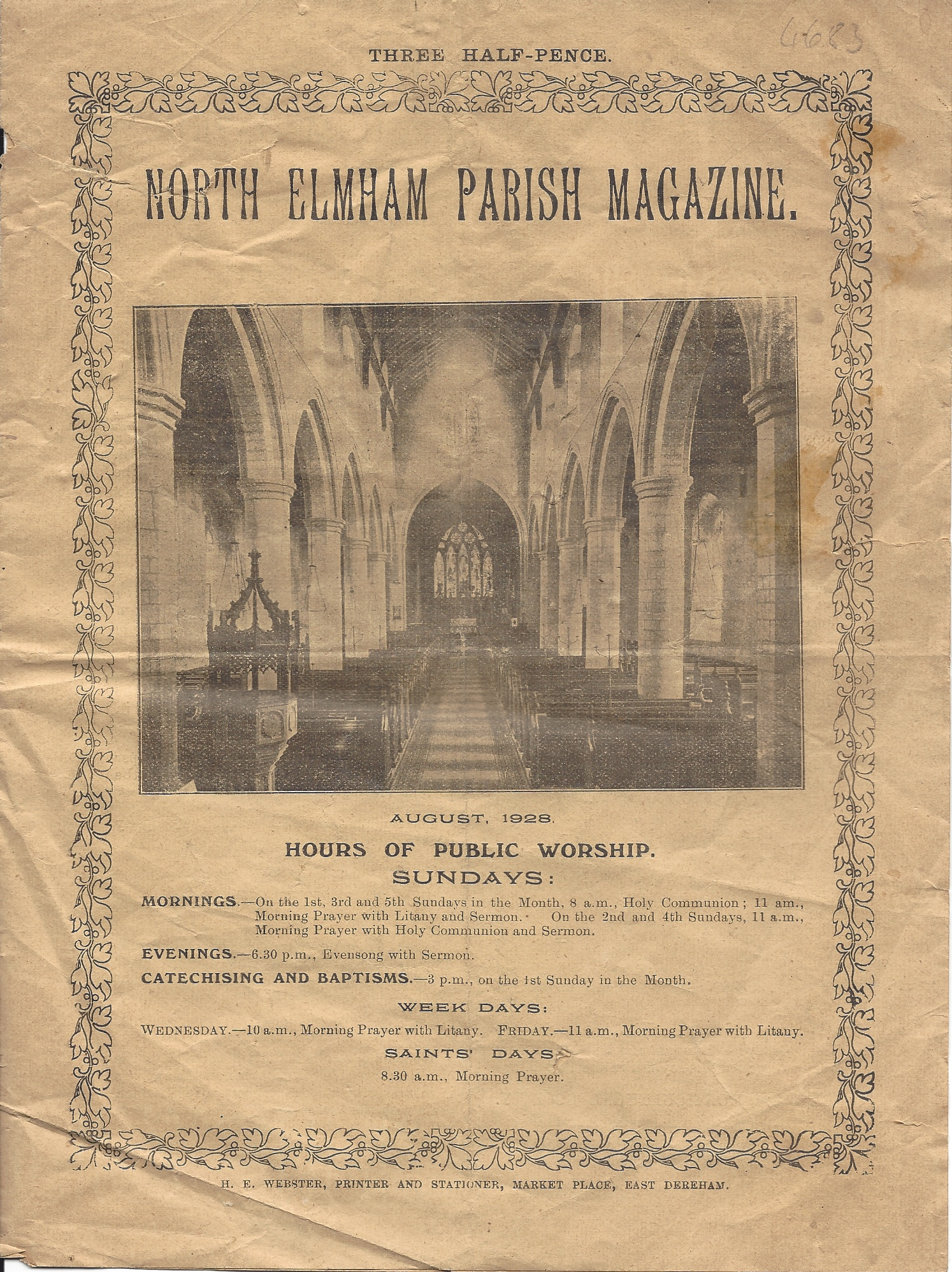 Image for North Elmham Parish Magazine, August 1928